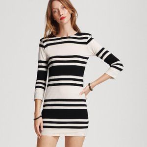 French Connection Black and Cream Strip Dress Sz8